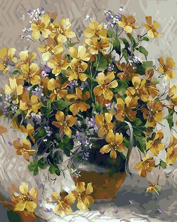 Frameless picture oil paintings by numbers flowers ...
