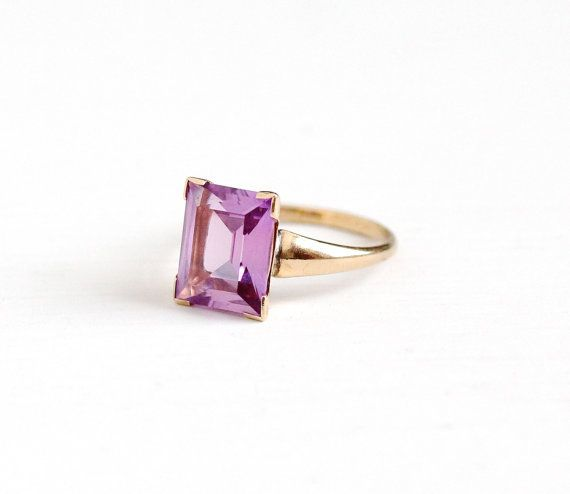 Sale Vintage Created Color Change Pink Sapphire Ring 10k Etsy Beautiful Rings Vintage Pink Sapphire Ring Vintage Fine Jewelry