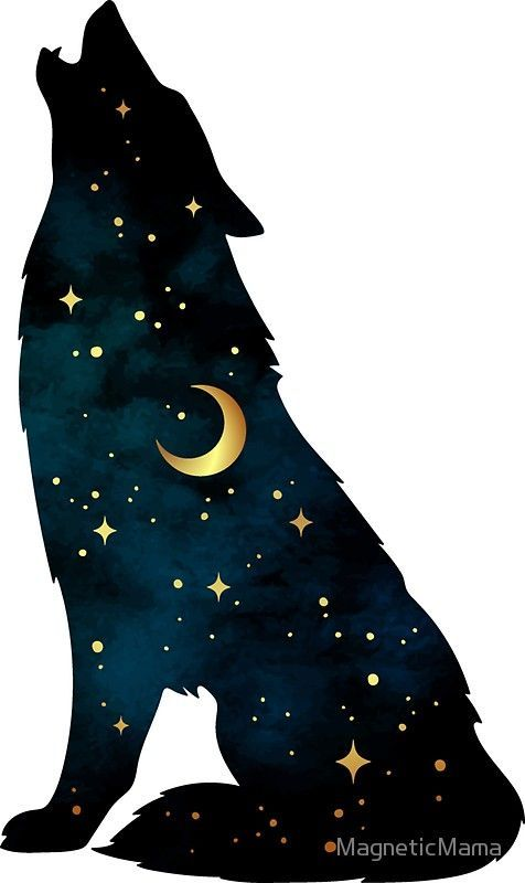 Photo of 'Wolf Silhouette with Stars and Moon' Sticker by MagneticMama –  Wallpaper… By…