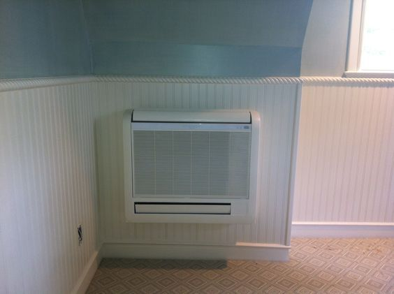 Ductless Floor Console Installed Hvac Unit Ductless Mini