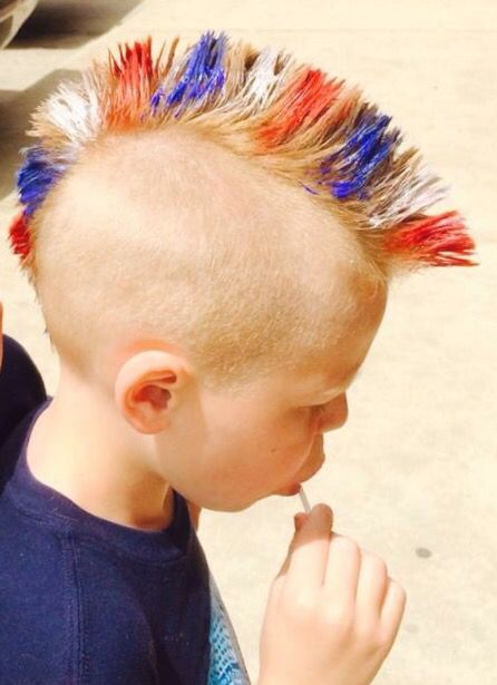 4th Of July Hairstyle For Boy Mohawk With Red White And Blue Washout Hair Gel Boy Hairstyles Mens Blue Hair Mohawk