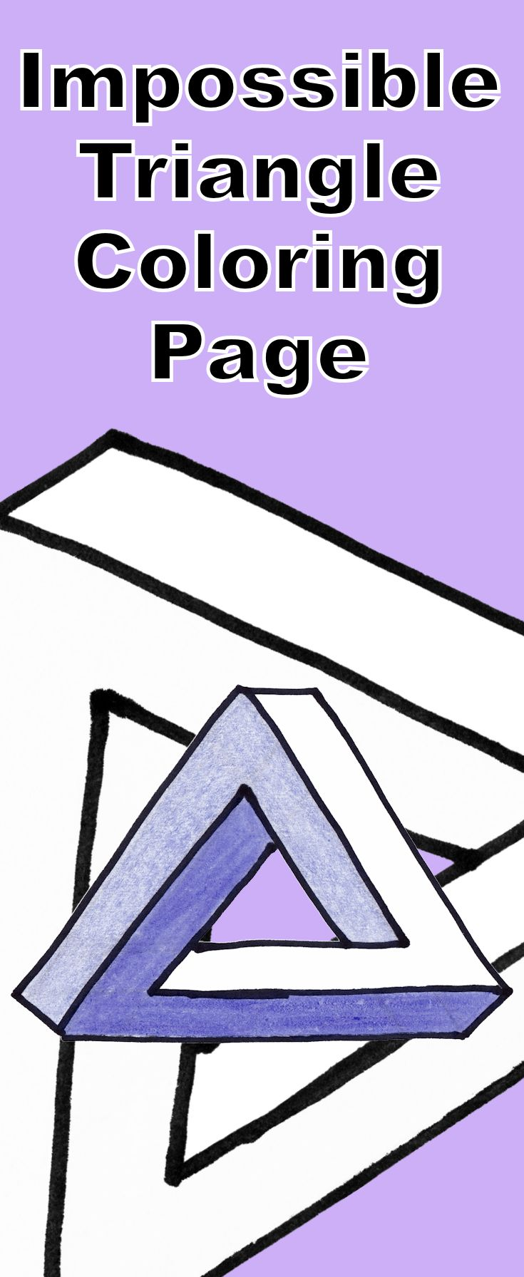 Impossible triangle coloring page which includes a tutorial video to ...