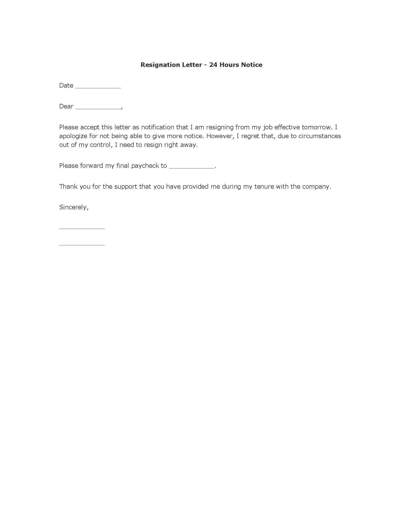 polite resignation letter format   Cover letter for resume ...