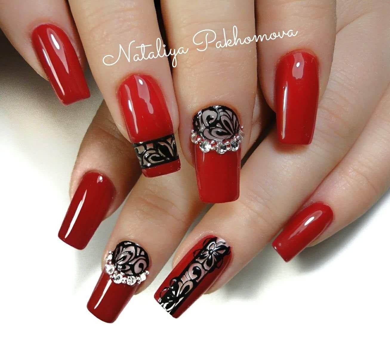 Pin By Chau Naitae Blackwolf On Nail Art Red Nail Art Designs Acrylic Nails Gel Nails