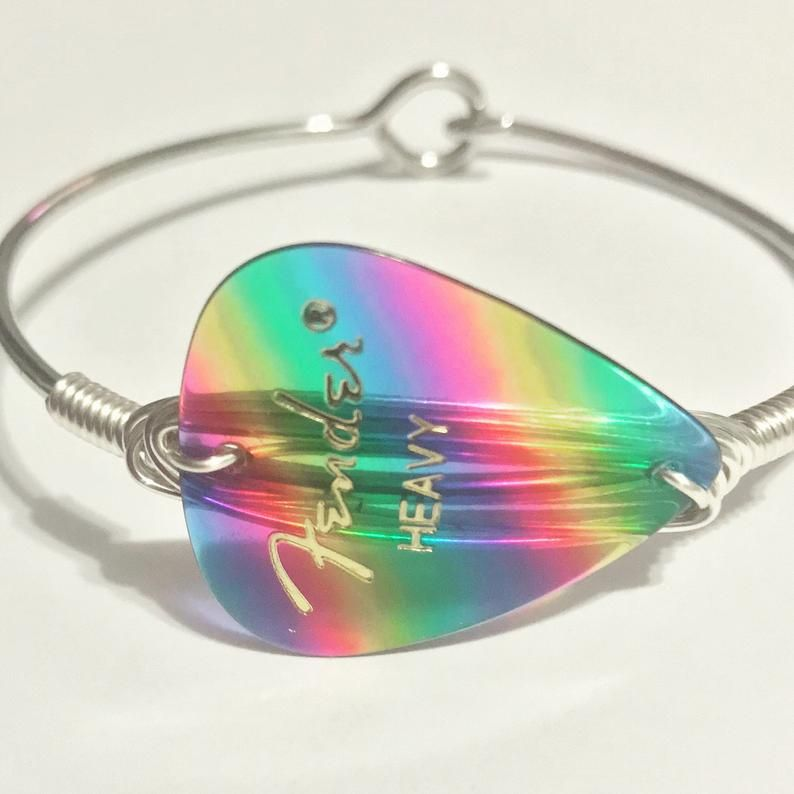 Guitar Pick Bracelet, Rainbow Fender