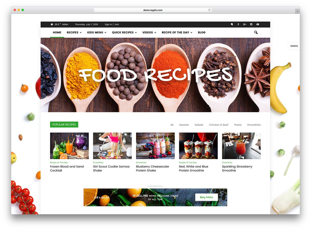 Newsmag food magazine wordpress website template food theme awesome food wordpress themes to share recipes 2017 colorlib forumfinder Images