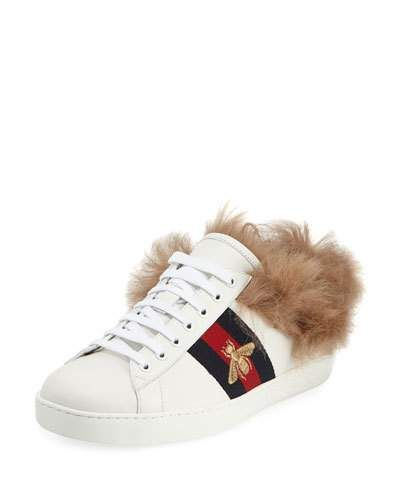 fc4b0346829 GUCCI ACE FUR-LINED LEATHER LOW-TOP SNEAKER.  gucci  shoes