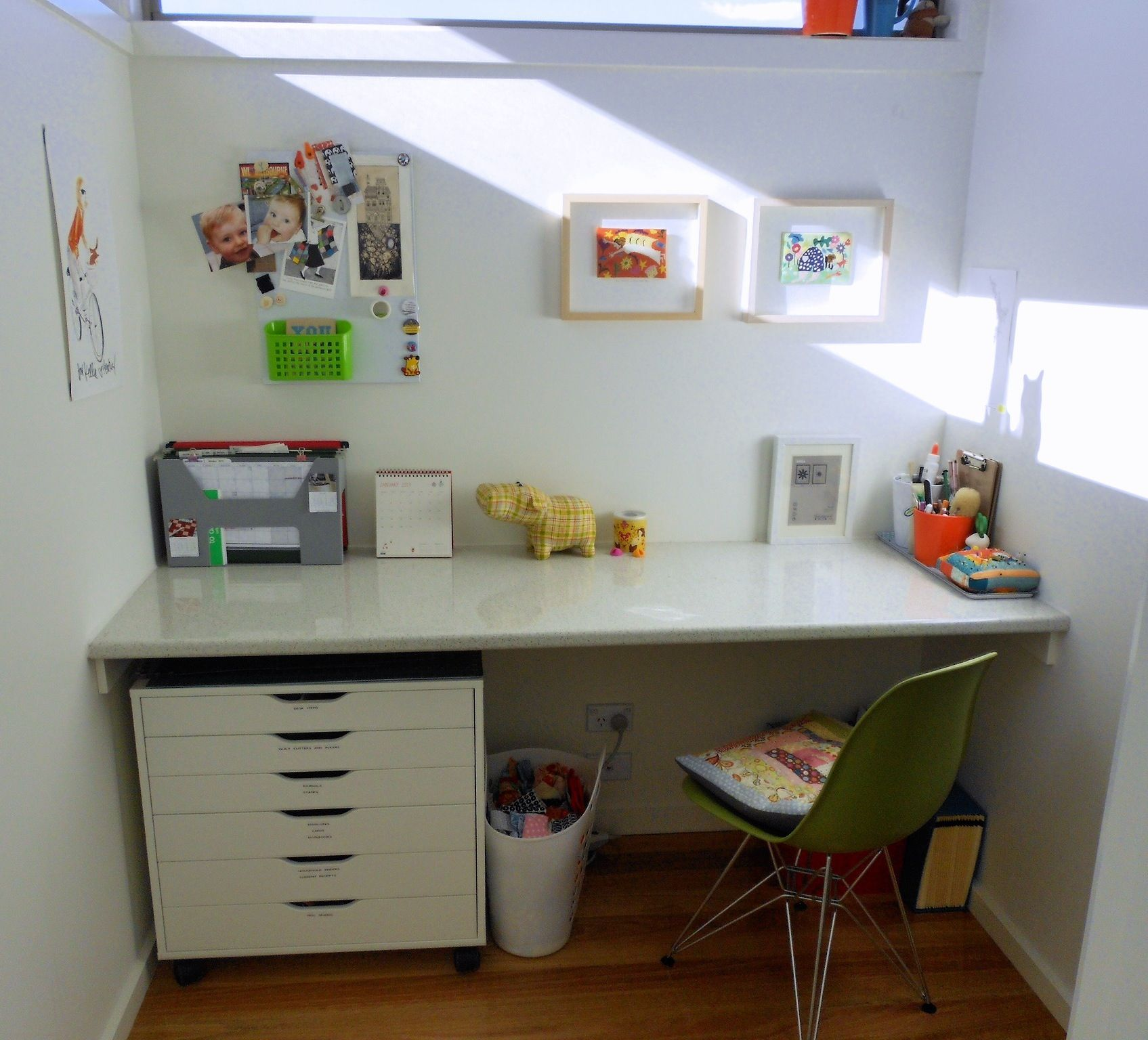 open space home office. My Home Office Space Is Small Built-in Desk Nook Off Our Open Plan Kitchen I