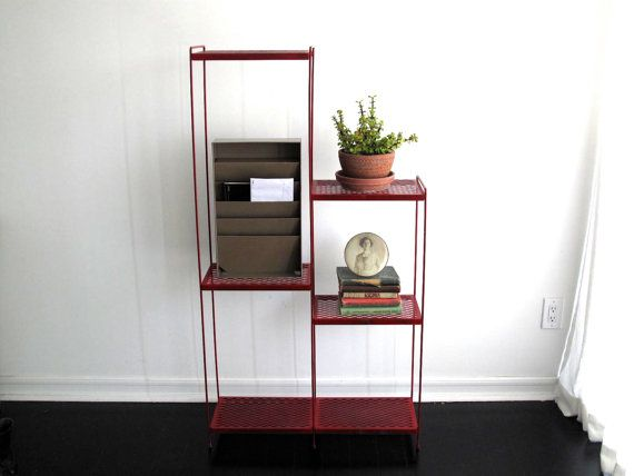 Fabulous Vintage Red Metal Shelf Vintage Industrial Furniture Interior Design Ideas Clesiryabchikinfo