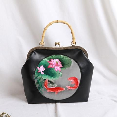Leather Handbag Bamboo Clutch Vintage Embroidery Kisslock Metal Frame Party  Evening Handbag Women Wallet d2eb526f282bc