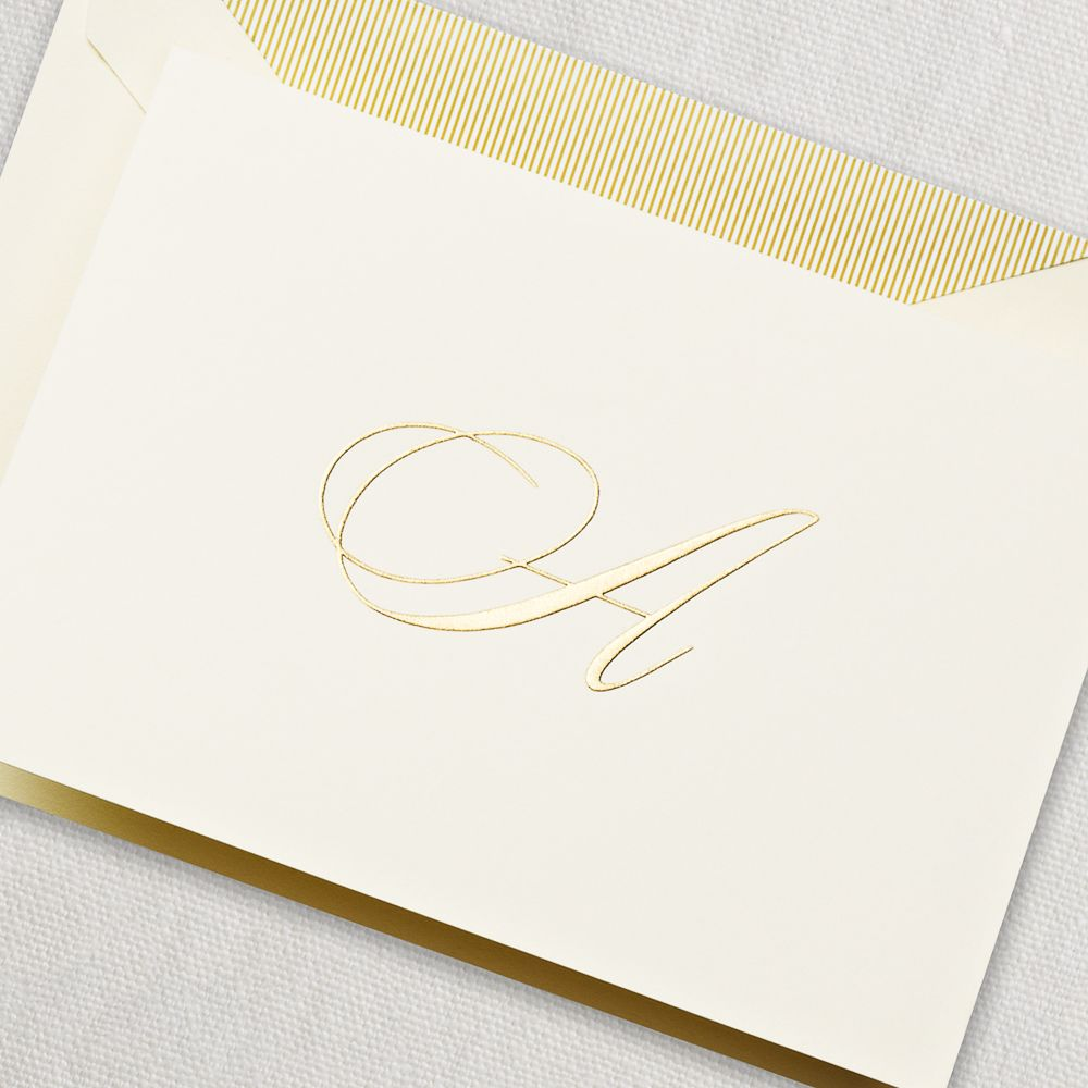 engraved script initial note a hand engraved initial note for the demure starlet in all - Initial Note Cards