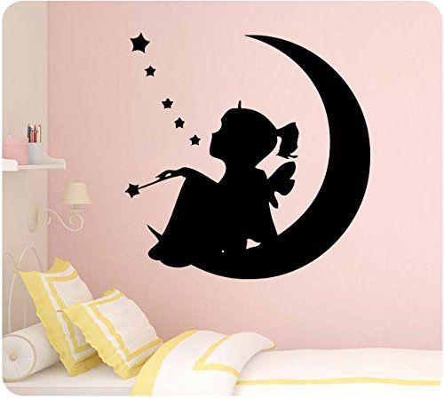 "24"" little girl fairy sitting on moon stars wish wand tinker bell"