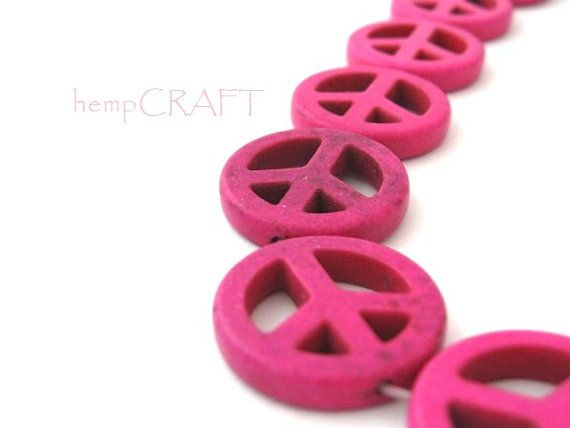 Peace Sign Bead Pink Fuchsia Dyed Magnesite - 5pcs - 20mm via Etsy