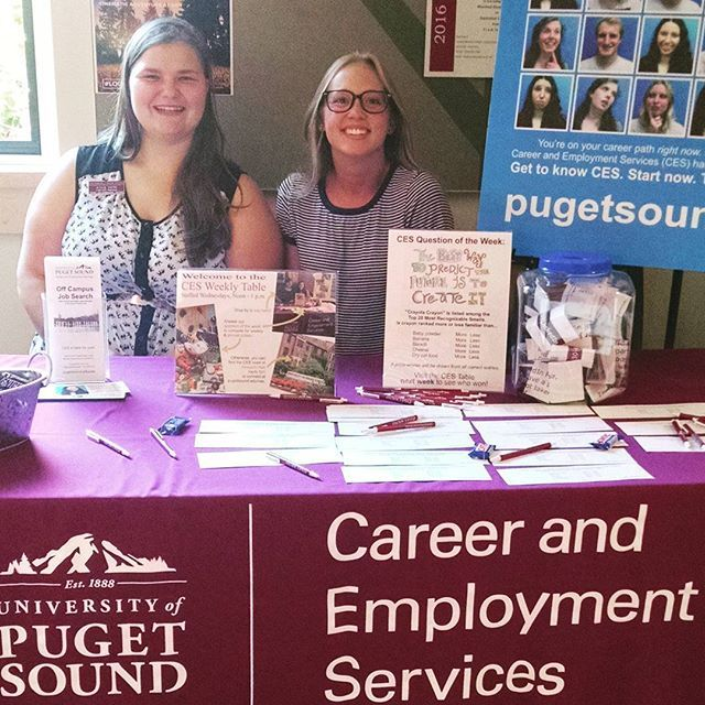CES' Weekly (Wednesday) Tables in the SUB have commenced! Drop by to say hello, learn about career resources, and enter our weekly prize drawing. CES student staff members Jessie Sayre '16 and Sarah Davidson '18, host the table over the noon hour. #loggersatwork @univpugetsound