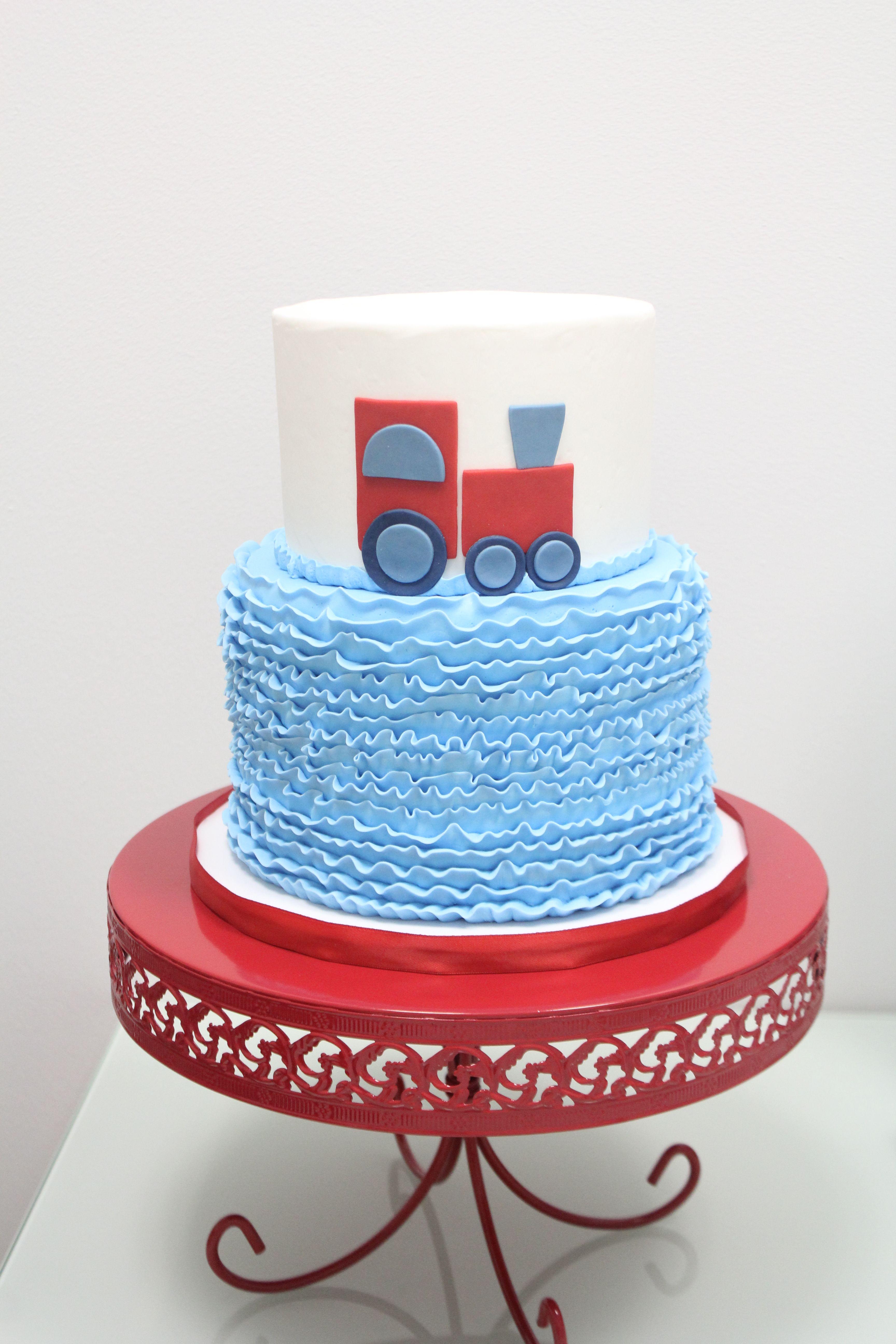 Train Cake With Blue Ruffles