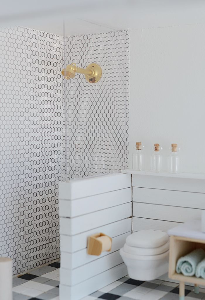 Photo of Little Modern Farmhouse Bathroom and Workspace