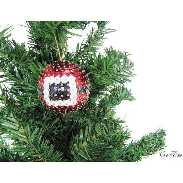 Sequined Balls for Christmas trees, Palline Natale con paillettes ($10) ❤ liked on Polyvore featuring home, home decor, holiday decorations and christmas