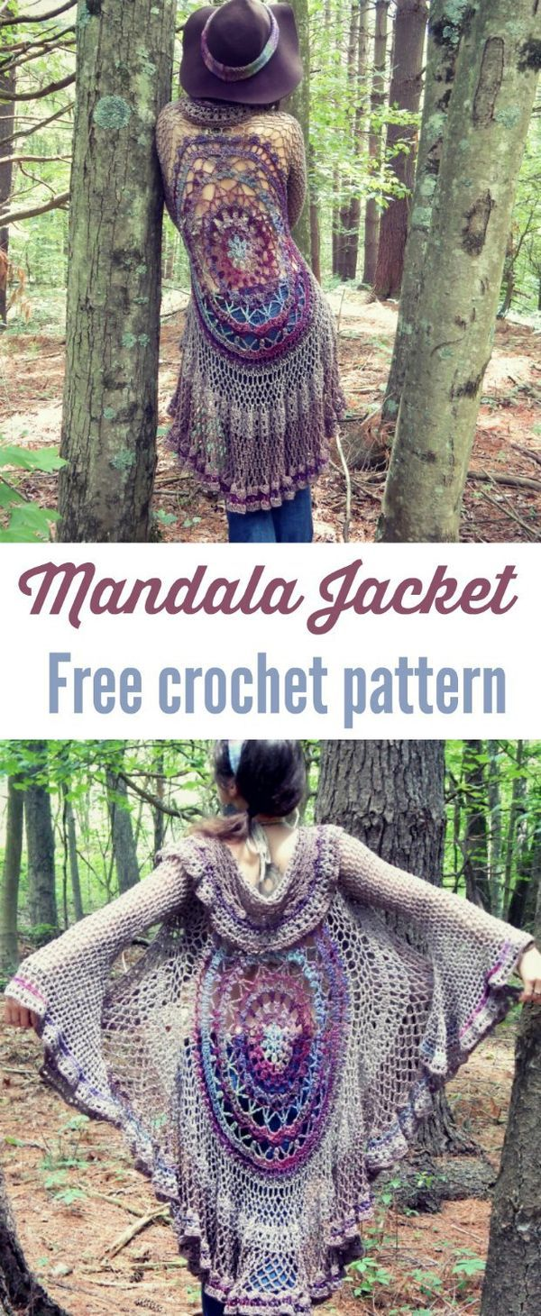 Mandala duster jacket with sleeves, free crochet pattern. | fashion tutorial