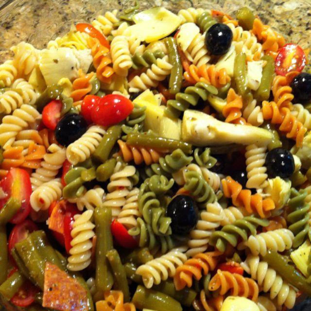 Pasta Salad * barilla tri-colored rotini cooked add green ...