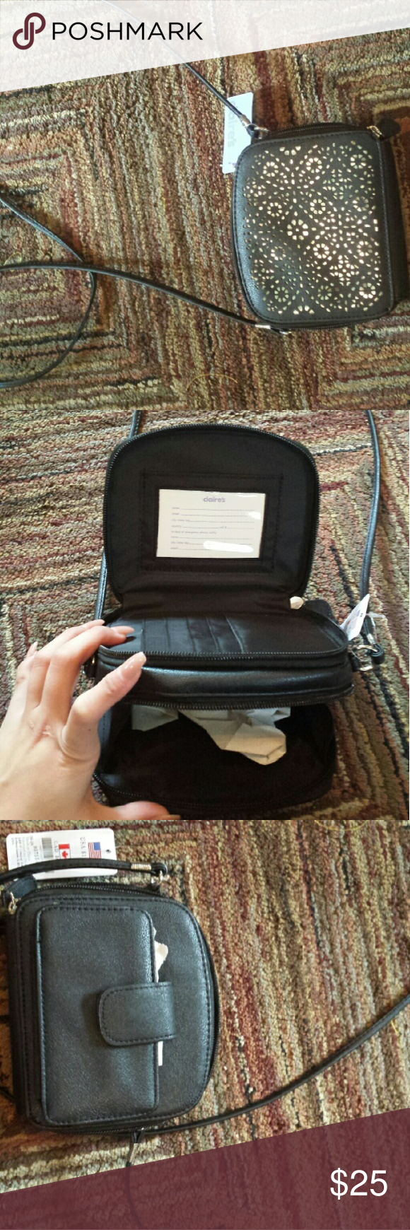 Nwt mini bag Never used still has the tissue in each compartment. Black and silver,perfect for someone that doesn't carry that much or isn't going to that day. Already has a built in wallet and phone pocket. It honestly looks the size of those old flip phones,but it has it. Claire's Bags Crossbody Bags
