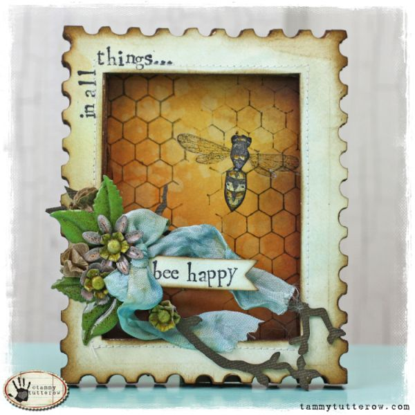 Tammy Tutterow: Bee shadowbox - Tim Holtz Postage Stamp die http://tammytutterow.com/2013/03/tuesday-tutorial-bee-happy-die-cut-shadowbox-frame/