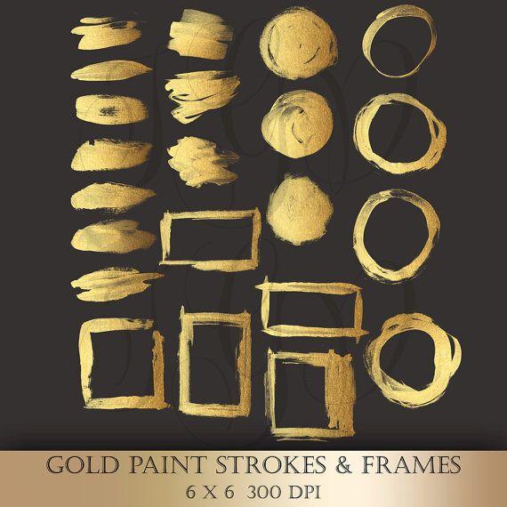 Gold Brush Strokes Clipart Gold Metallic Glitter Paint Strokes