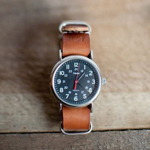 Timex Weekender with custom leather strap