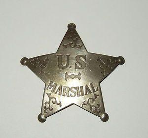 Marshal Old West Police Badge: U.S Lawman brass star