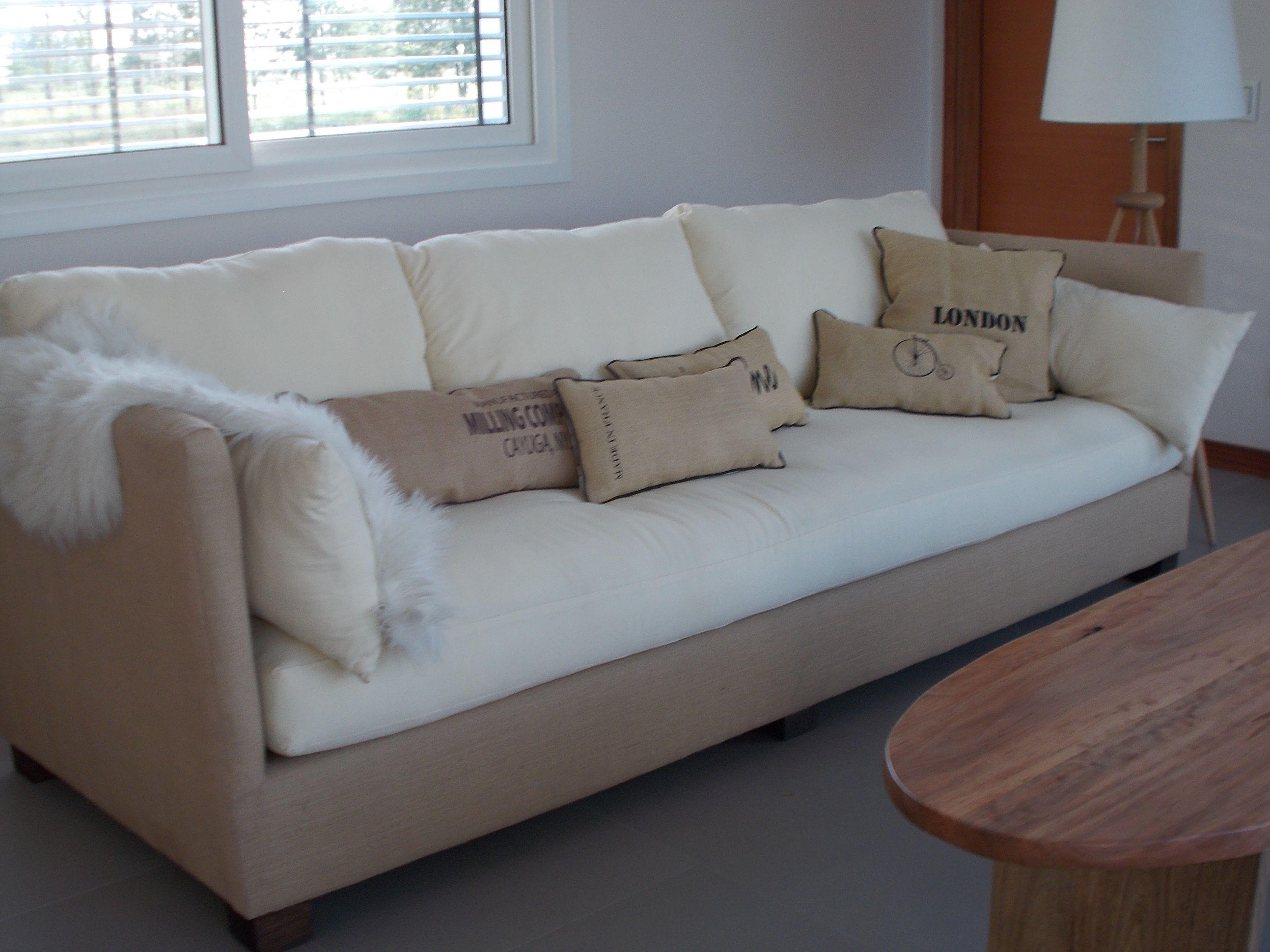 Sillon de 2 70 x 95 combinado arpillera y lienzo for Sofa cama de dos cuerpos