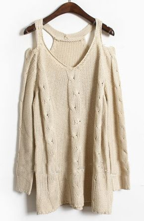Love this Cut Out Shoulder Sweater
