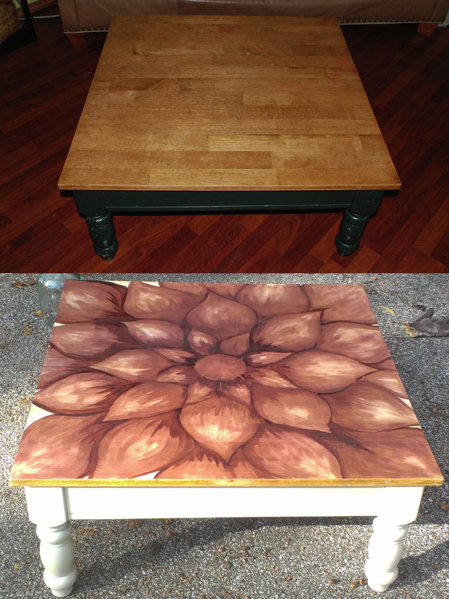 Coffee table makeover I just sanded the top spray painted the