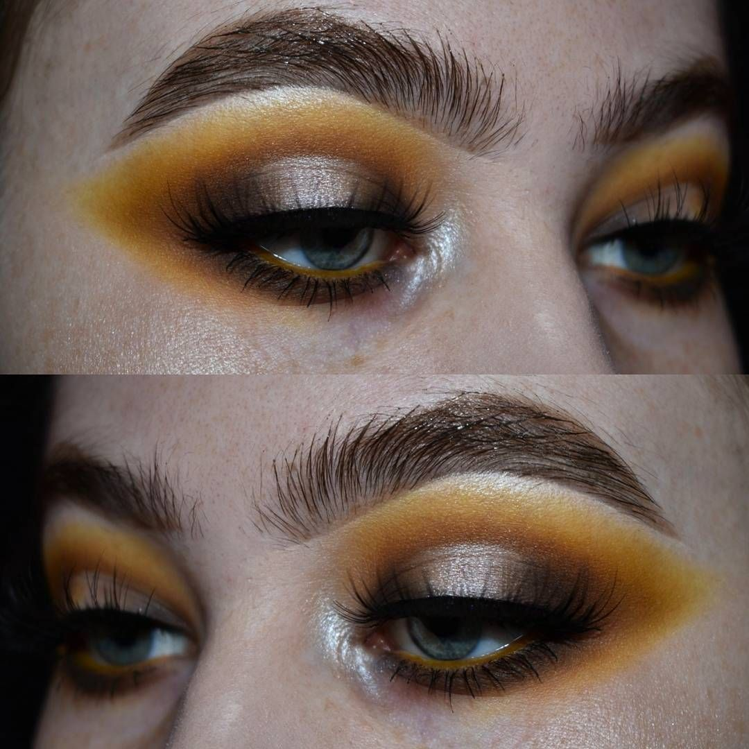 Thick brows with Golden and Yellow Eyeshadow No eyeliner