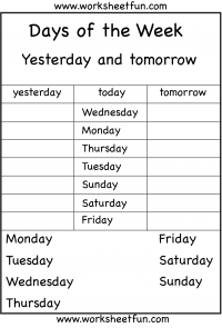 Days of the Week – Yesterday and Tomorrow – 6 Worksheets | Work ...