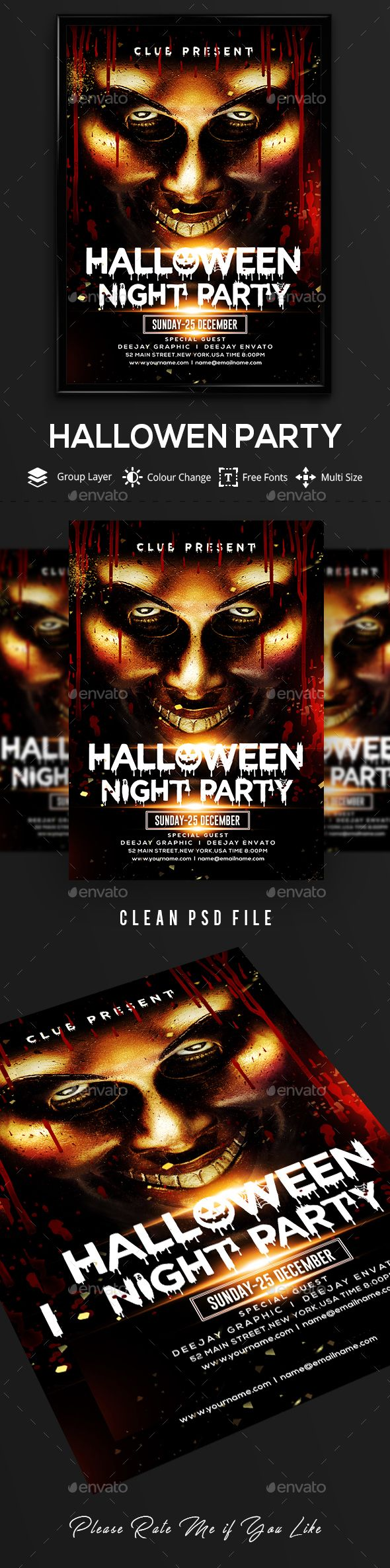 Halloween Flyer Event Flyers Flyer Template And Fonts