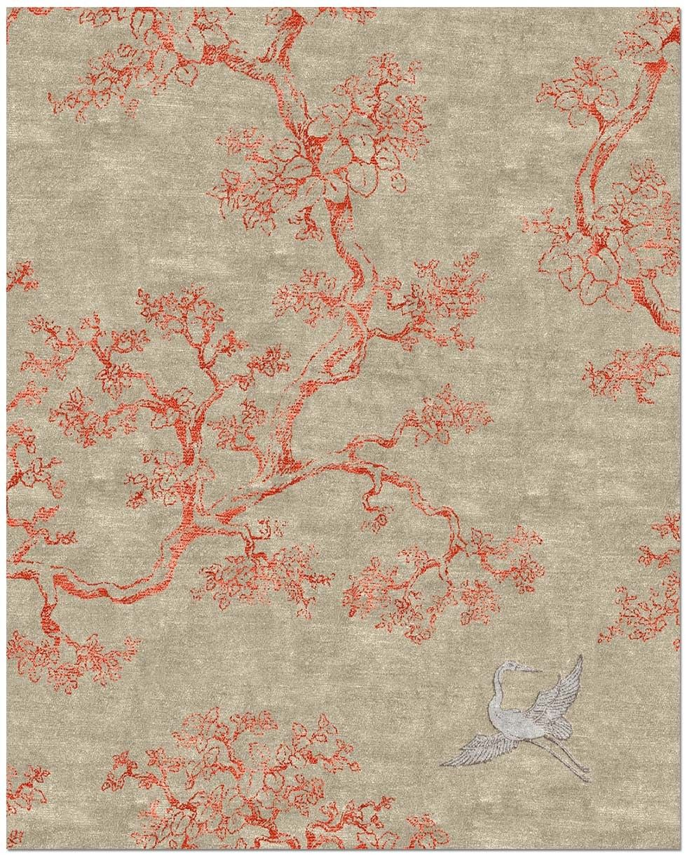 The Cranes Rugs On Carpet Patterned