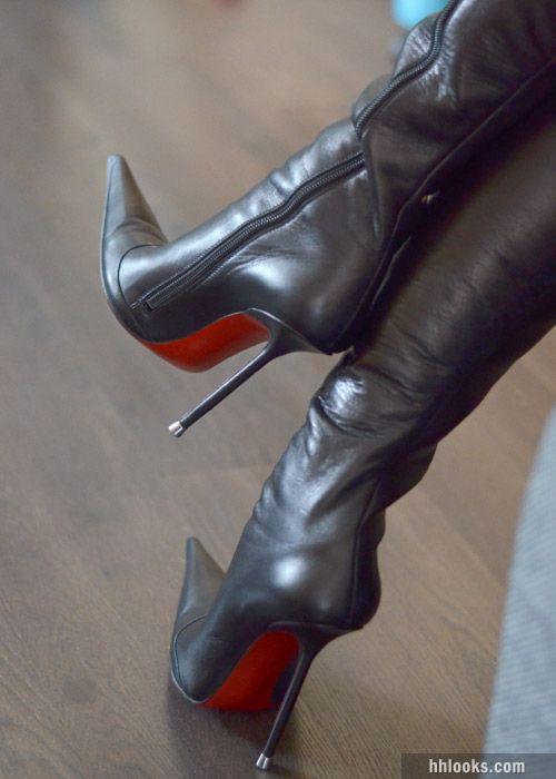 Hermosas Botas De Cuero Para Mujer Moda En Botas Zapatos Moda 2015 2016 Botas De Cuero Botas De Tacón Botas De Cuero Negras