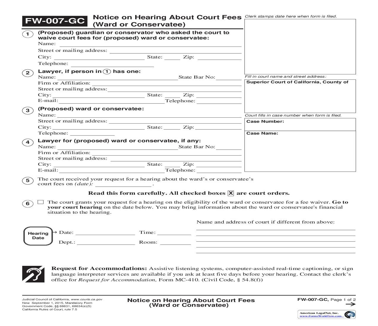 This is a california form that can be used for fee waiver