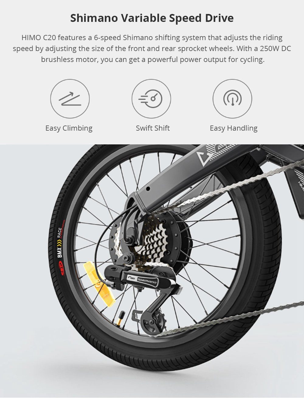 Xiaomi Himo C20 Foldable Electric Moped Bicycle 250w Motor 25km H
