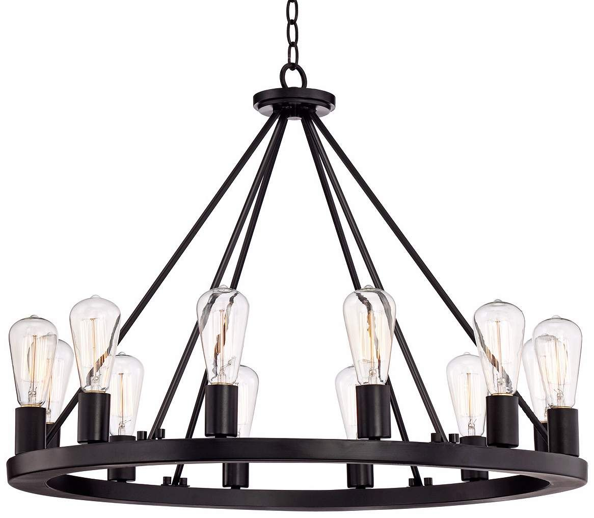 Lacey Wide Round Black Chandelier