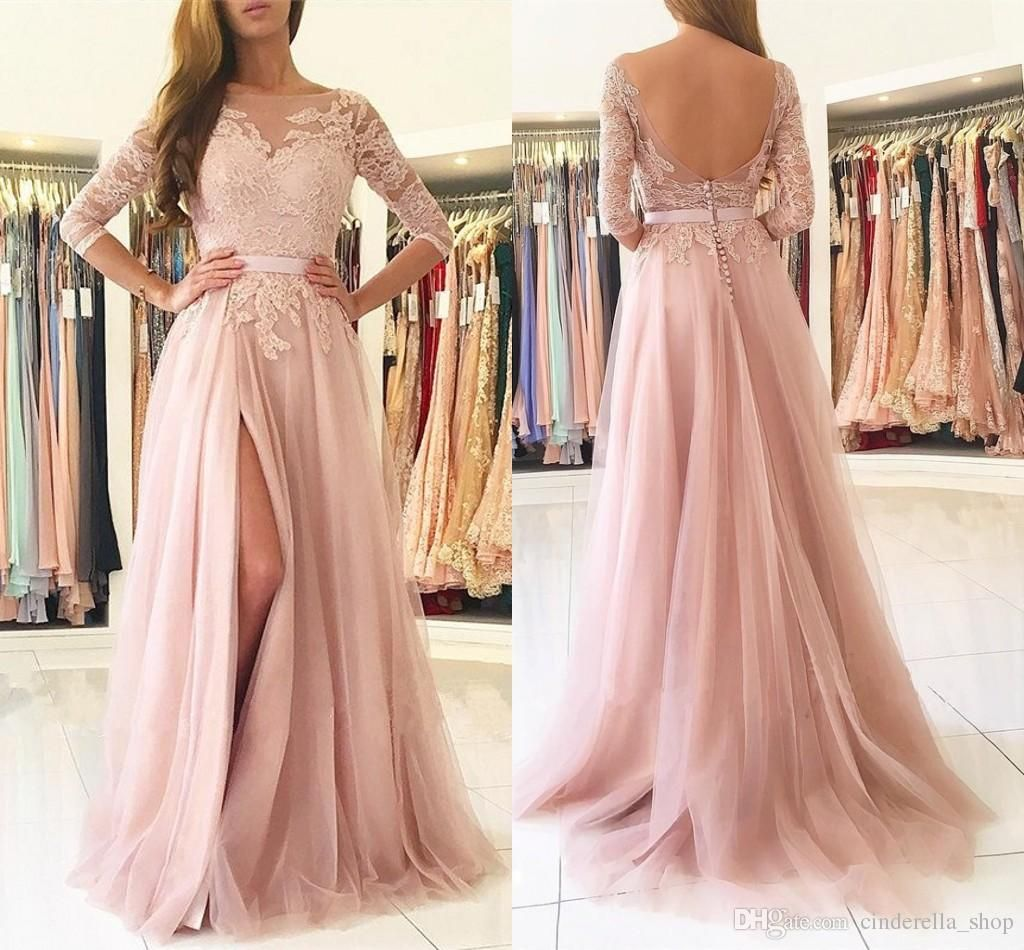 2019 Elegant Blush Prom Dresses Bateau 3 4 Long Sleeve Backless Side Split Sweep Train Long Lace Top Appliques Sash Party Evening Gowns Red Prom Dresses Uk Sequ Split Prom Dresses Long