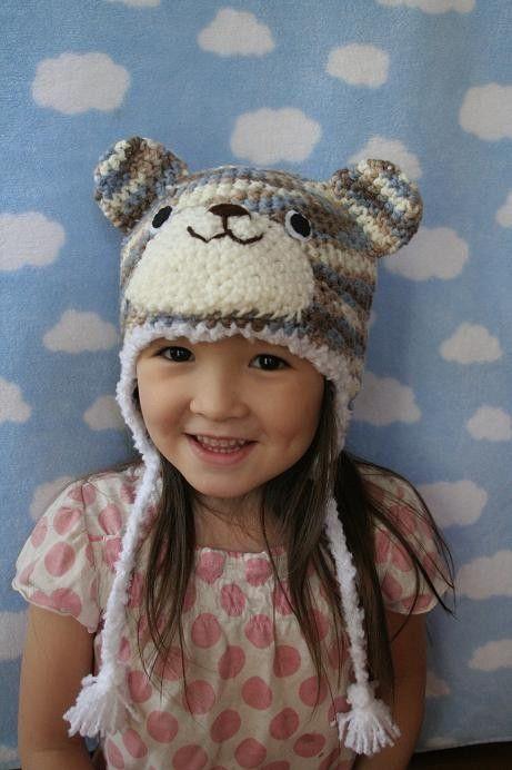 Camo Blue Bear Crochet Hat
