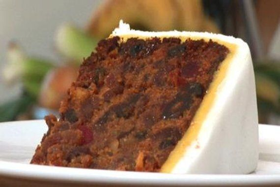 British Christmas Cake.Rich Traditional British Fruit Cake With Fondant And