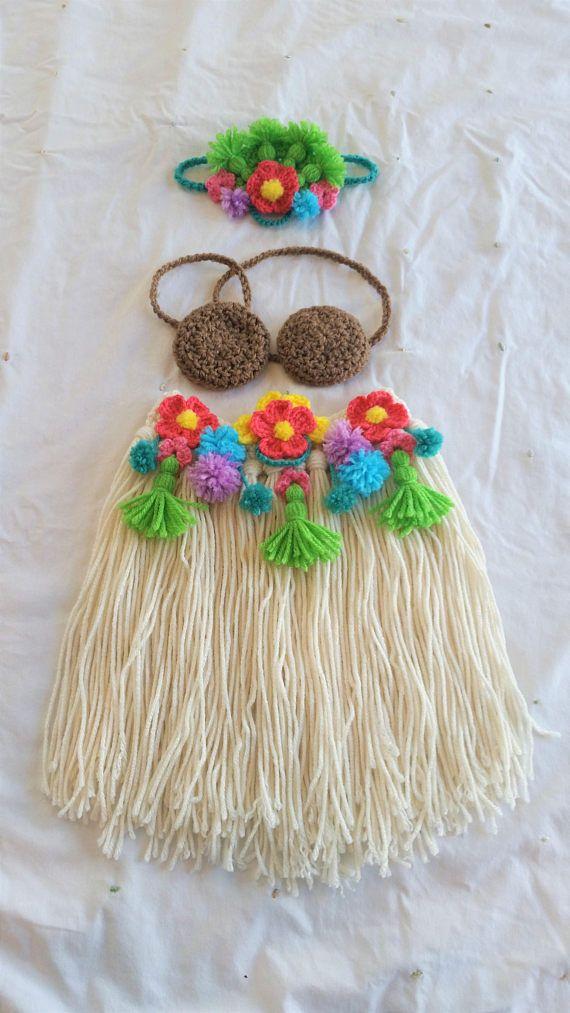 a451aff66b6ba Polynesian Princess Baby Crochet Set, Hawaiian Hula Girl Dancer Outfit,  Baby's First Luau Dress,Baby's First Birthday,Photo Prop,Costume