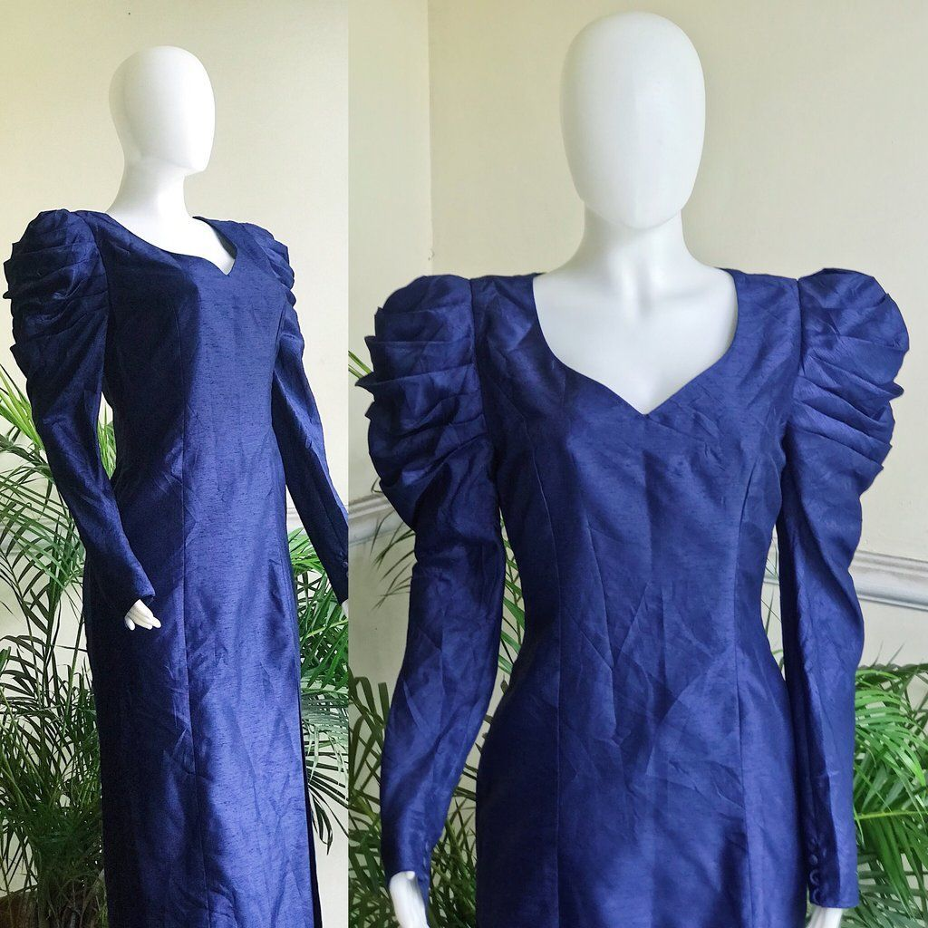 Vintage Blue Exaggerated Sleeves 50s Dress Shop Secondhand Sustainable Clothing 50s Blue Clothi Dress E In 2020 Sustainable Clothing 50s Dresses Thrift Fashion