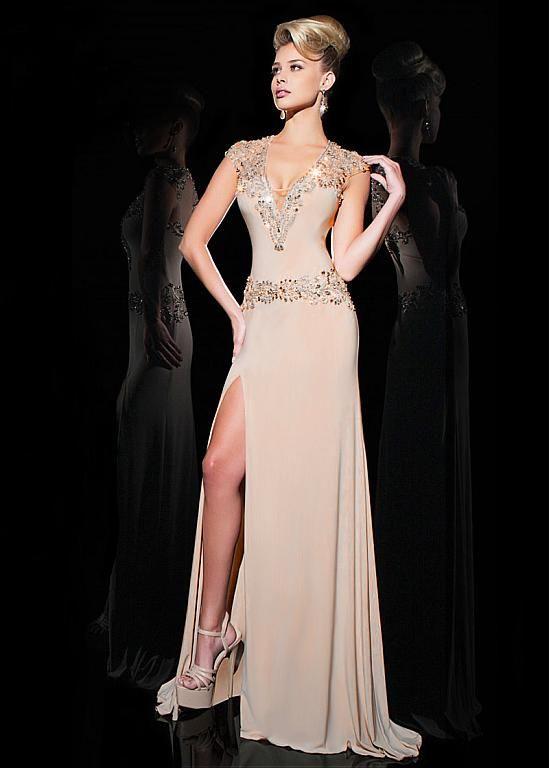 Amazing Chiffon V Neck Sheath Evening Dresses With Beads Blanket