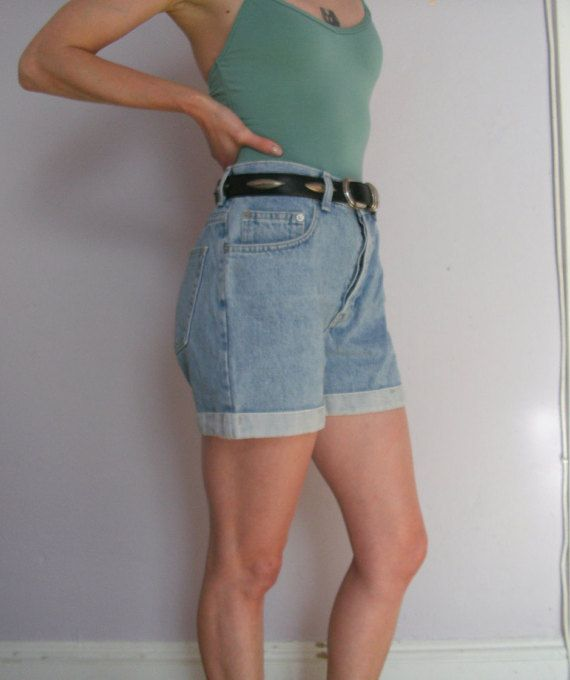 1980s Floral Shorts Vintage 80s High Waisted Cuffed Shorts S