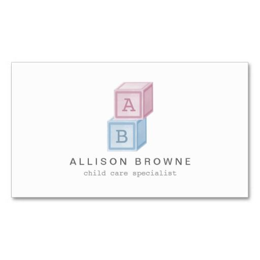 Baby Blocks Monogram Childcare Babysitter Card Zazzle Com Baby Blocks Printing Business Cards Babysitter