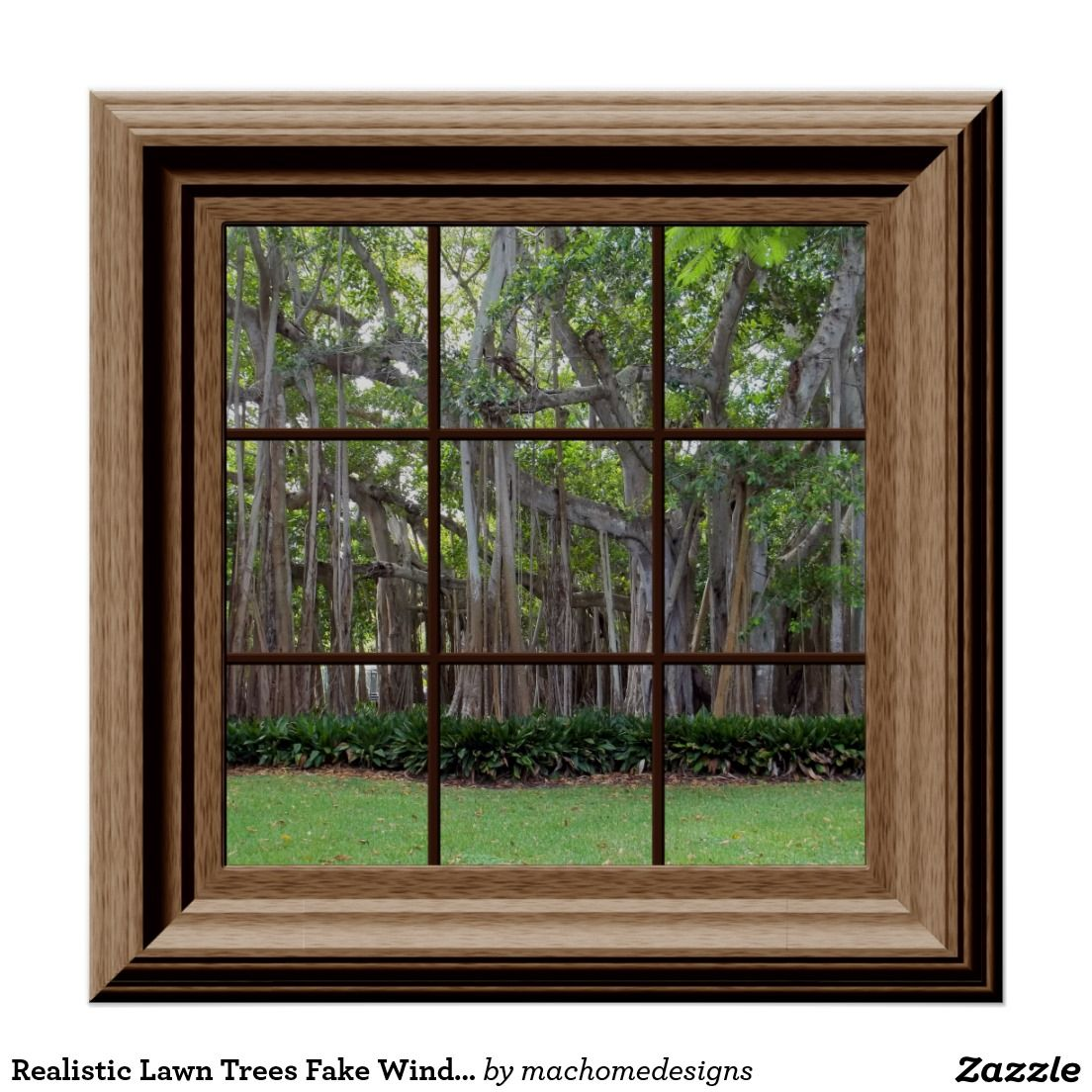 Realistic Lawn Trees Fake Window Scene Poster Zazzle Com Fake Window Window Mural Fake Walls