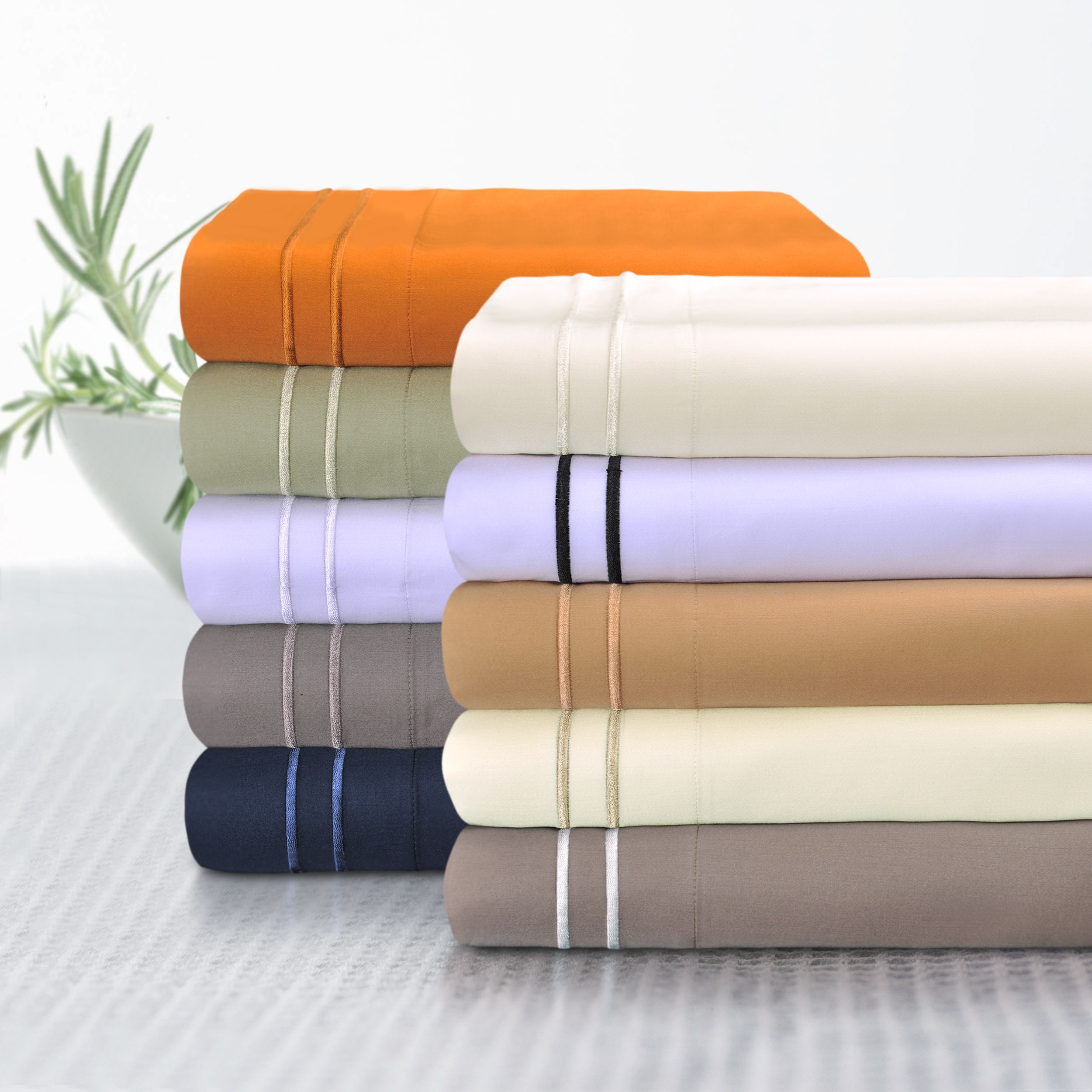 Home embroidered pillowcases deep pocket sheets