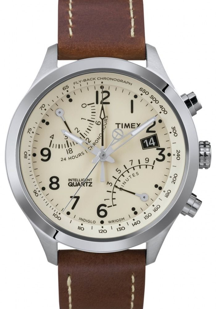 07fb79442be Timex Men s T2N932 Intelligent Quartz Fly-Back Chronograph Leather Strap  Watch